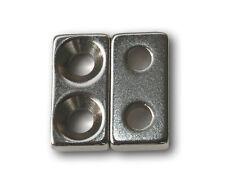 2x Magnete Neodym-Scheiben 20mm x 10mm mit Loch f. Senkschrauben NdFeB N35 Block