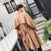 Retro Men's Lapel Collar Belt Trench Coat Loose Long Parka Overcoat Tops Outwear