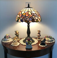 "Tiffany Style Table Lamp Light, Stained Glass Floral Design Accent Lamp 18"" H"