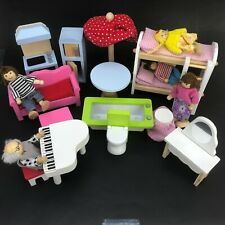 Vintage Wooden Miniature Dollhouse Furniture People Grown Ups Kids Doll Bed Lot