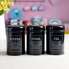 X021 Black Set 3 Kitchen Food Storage Canister Coffee Sugar Container Tea Jar