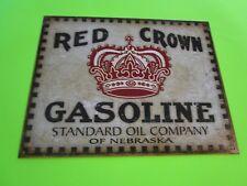 tin metal home garage repair shop man cave decor service station fuel red crown