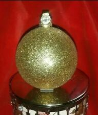 CANDLE Lid TOPPER bulb ornament  glitter gold w/ gem BATH & BODY WORKS 3 wick