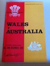 Welsh Rugby Union Offical Programme Wales , Australia 1975.
