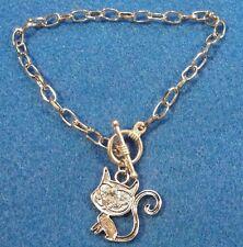 "5Pcs. Tibetan Charm Bracelet 7-3/4"" (20cm) Silver w/CAT Charm & Toggle Clasp B22"