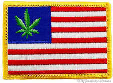 UNITED STATES OF WEED EMBROIDERED PATCH AMERICAN FLAG USA iron-on POT SMOKER LOL