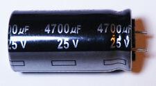 4700 uF 25 Volt Capacitor Aluminum Electrolytic Universal - 5 each