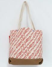 American Eagle Outfitters Ivory Red Allover Logo Cotton Canvas Tote Bag New NWT