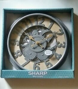 "Mechanical Gear Rustic Round Wall Clock 13.5"" Glass Lens Metal Hands Home Decor"