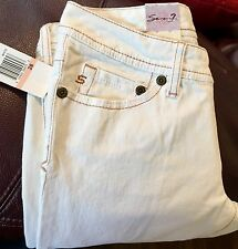 NWT Authentic Seven 7 Women's Size 28 Flare White Jeans Low Rise