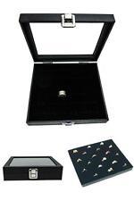 Jewelry Storage Box Organizer Glass Top Ring Display Case 36 Slot Tray Holder