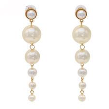 1 Pair Fashion Jewelry Women Pearl Long Dangle String Statement Earrings Gift