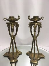 ANTIQUE CANDLEHOLDER TORCHERE OIL LAMP FIGURAL LOUIS XVI STY BRONZE CANDLESTICKS