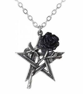 Alchemy England - Ruah Vered Pendant Necklace, Black Rose, Pentagram Gothic Gift