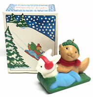 Vintage 1984 AVON Christmas Ornament~WINTER PALS~Bunny Rabbit & Squirrel on Sled