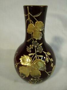 "FINE VICTORIAN 6"" CASED MAROON ART GLASS VASE - SILVER & GILT ENAMEL LEAVES"