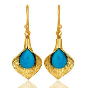 18k Yellow Gold Plated 925 Sterling Silver Turquoise Gemstone Jewelry Earrings