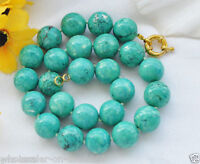 """Beautiful 10mm  Natural  Turquoise Gems Round Beads Necklace 18""""AAA"""