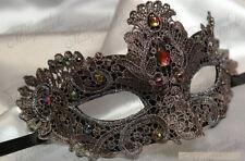 Womens Brocade Lace Mardi Gras Masquerade Mask Embellished w/ Gems [Gray]
