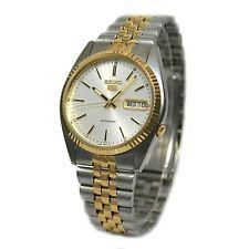 Seiko SNXJ90 Mens Watch Two Tone Seiko 5 Automatic Dress Watch White Dial
