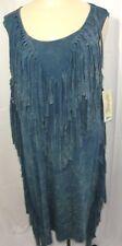 NEW NWT Wrangler Blue Tie Dye Fringe Dress Size Large Western