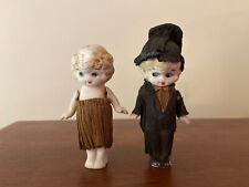 Antique Bisque Japan Kewpie Dolls Bride & Groom Wedding Set Original Clothes