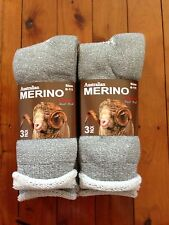 6 PAIRS HEAVY DUTY AUSTRALIA MERINO EXTRA THICK WOOL WORK SOCKS - LIGHT GREY6-11