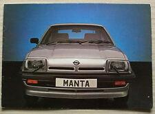 OPEL MANTA Car Sales Brochure Sept 1981-82 GT/J & Berlinetta SR.