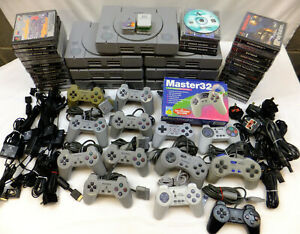 1 PLAYSTATION 1 PS1 CONSOLE PACKAGE + 2 PADS & 4 RANDOM GAMES - TESTED & WORKING