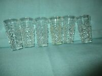 """Vintage Diamond shape Clear (6) Shot Glasses 3"""" Tall 1 1/2"""" Top Made in Italy"""