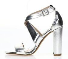 STEVE MADDEN Womens 'Caliopi' Silver Ankle Strap Sandals Shoes Sz 6.5 M - 232032