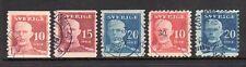 1920-1921 Sweden SC 139-143 Used Set of 5 (out of 6) - King Gustav V*