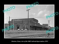 OLD LARGE HISTORIC PHOTO OF DENISON TEXAS, THE MKT RAILROAD DEPOT STATION c1955