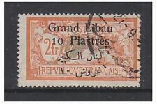 Lebanon - 1924, 10p on 2f Orange stamp - Used - SG 41