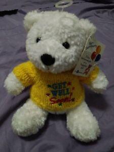 "US Balloon Mfg Co Soft Sentiments 6"" Beanbag Plush Bear Get Well Soon wool sweat"