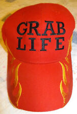"""Grab Life"" Embroidered Dodge Motorsports Red w/ Flames Baseball Cap Hat NWOT"