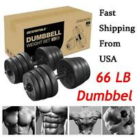 Pair of 66.14lb Solid Dumbbells Barbell Set for Men Women Gym Home Workouts Gift