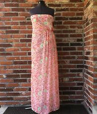 NWT Zara Basic Full-Length Dress Strapless Chiffon Sz. XS Pink Yellow Floral