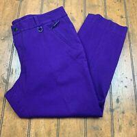Lauren Ralph Lauren Womens Crop Pants Size 16 Purple Zip Pockets Stretch Career