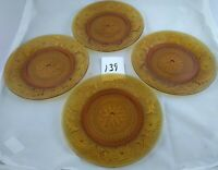 Set of 4 Dinner Plates 8 1/4 Inch Indiana Glass Amber Brown Tiara