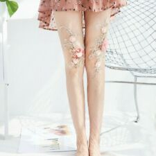 Floral Fish Net Tights Lace Beaded Stockings Pantyhose Dance Clubwear Sexy