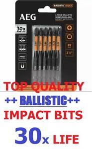 TOP QUALITY TRADESMAN AEG 6PC BALLISTIC IMPACT BITS PH2 SQ2 89MM DRILL DRIVER
