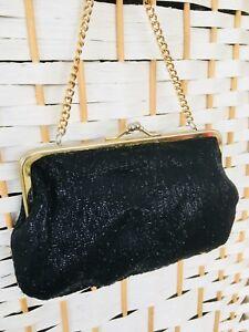 Genuine Vintage Ladies 1950's 1960's Black Glitter Evening Purse Bag