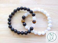 Couple Moonstone/Jet/Tiger Natural Gemstone Bracelet 7-8'' Elasticated Healing