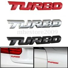 TURBO Emblem 3D Metal Universal Car Auto Decal Sticker Logo Badge Red / Chrome