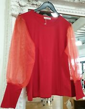 Red Puff Sleeve Organza Top One Size Fits 8-12 BNWT