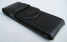Parker Leather Double Pen Case - Black Twin Pen Wallet Holder With Parker Logo