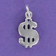 Dollar Sign Charm Sterling Silver for Bracelet Money Cash Luck Gambling Lottery
