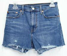 "New Levis Womens High Rise Vintage Distressed Raw Hem Stretch Denim Shorts 28"""