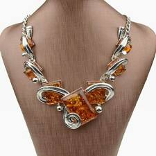 Tibet Silver Chain Ambroid Amber Square Pendant Statement Link Collar Necklace